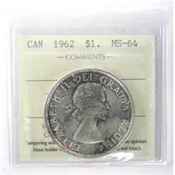1962 Canada Silver Dollar. ICCS. MS-64