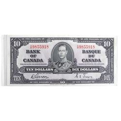 Bank of Canada 1937 Ten Dollar Note. G/T (EF)