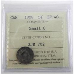 1908 Canada 5 Cent EF40. ICCS. Small 8