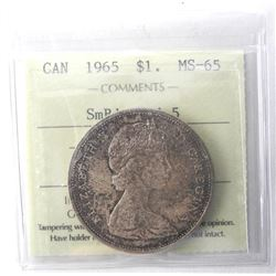 1965 Canada Silver Dollar. MS65. ICCS. Small Beads