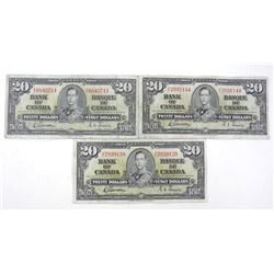 Lot(3) Bank of Canada 1937 Twenty Dollar Note. G/T