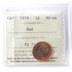 1978 - 1 cent, MS-64 Red [ICCS Certified]