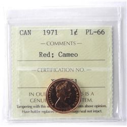 1971 - 1 Cent, PL-66 RED; Cameo [ICCS Certified :