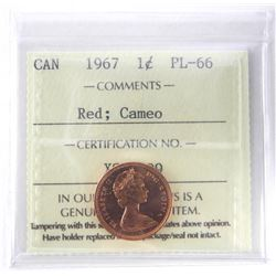 1967 - 1 cent, PL-66 Red, Cameo [ICCS Certified :