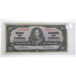 Bank of Canada 1937 Ten Dollar Note. G/T (VG)