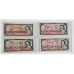 Lot (4) Bank of Canada 1954 Two Dollar Note. Modif