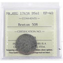Breton 508 Token FR. REG 1743A DSol EF-40 ICCS. Sc