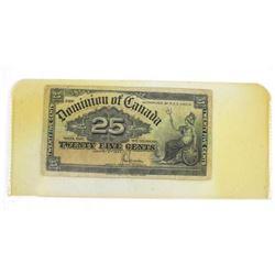 1900 Dominion of Canada Twenty Five Cent Note. 'Sa