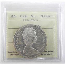 Canada 1966 Silver Dollar. MS64. ICCS.