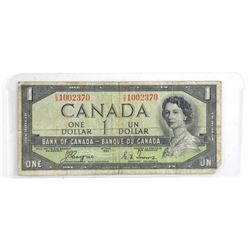Bank of Canada 1954 One Dollar Note. Devil's Face.