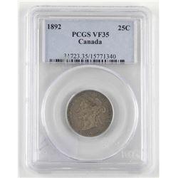 1892 Canada Silver 25 Cent. PCGS. VF35