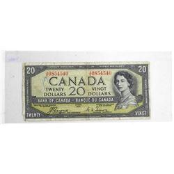 Bank of Canada 1954 Twenty Dollar Note, Devil's Fa