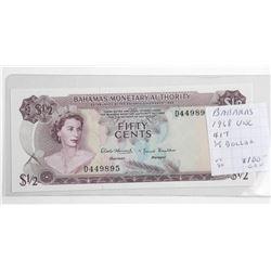 Bahamas - 1968 1/2 Dollar Note 'UNC'