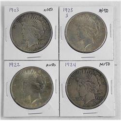 Lot (4) U.S. Silver Dollars: 1922, 1923, 1923S, 19