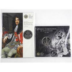 Lot (2) Royal Mint 5 Pounds Coins - Folio