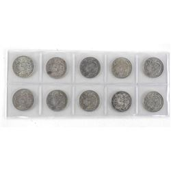 Lot (10) KING GEORGE Silver 50 Cent