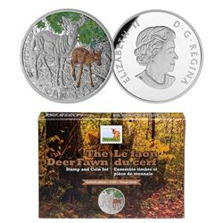 2015 $20 Baby Animals: White-Tailed Deer - Pure Silver Coin and Stamp Set