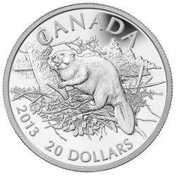 $20 - 2013 The Beaver 1oz Silver .9999 Fine Silver.