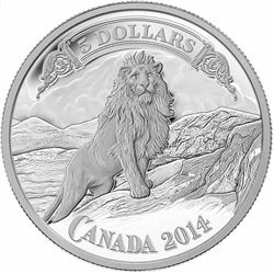 $5 - 2014 Bank Note Series: Lion on Mountain .9999 Fine Silver.