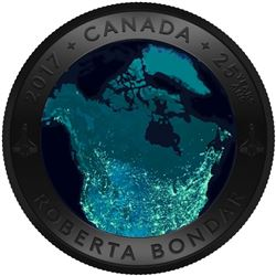 2017 $25 A View of Canada From Space - Pure Silver Convex Coin. Issue: $159.95.