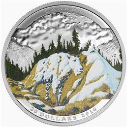 2016 $20 Landscape Illusion: Mountain Goat - Pure Silver Coin