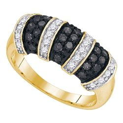 0.75 CTW Black Color Diamond Ring 10KT Yellow Gold - REF-34M4H