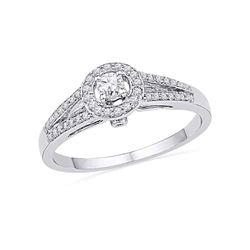 0.25 CTW Diamond Solitaire Split-shank Bridal Ring 10KT White Gold - REF-26H9M