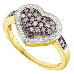 0.50 CTW Cognac-brown Color Diamond Framed Heart Cluster Ring 10KT Yellow Gold - REF-37H5M