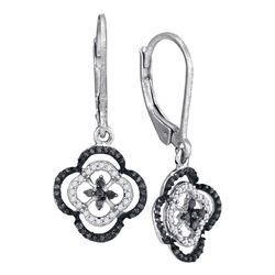 0.35 CTW Black Color Diamond Leverback Dangle Earrings 10KT White Gold - REF-24W2K