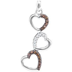 0.17 CTW Cognac-brown Color Diamond Triple Heart Love Pendant 10KT White Gold - REF-14N9F