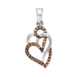 0.25 CTW Cognac-brown Color Diamond Triple Heart Pendant 10KT White Gold - REF-14X9Y