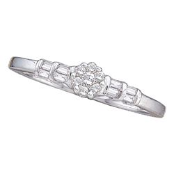 0.15 CTW Diamond Cluster Bridal Engagement Ring 14KT White Gold - REF-25M4H