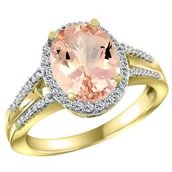 Natural 4.12 ctw morganite & Diamond Engagement Ring 10K Yellow Gold - REF-77N4G