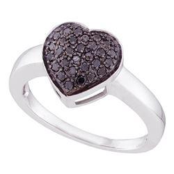0.25 CTW Black Color Diamond Heart Cluster Ring 10KT White Gold - REF-19K4W