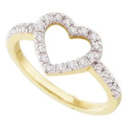0.20 CTW Diamond Simple Heart Outline Ring 10KT Yellow Gold - REF-13K4W