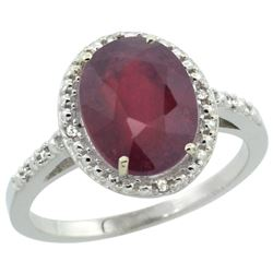 Natural 3.66 ctw Ruby & Diamond Engagement Ring 14K White Gold - REF-39M7H