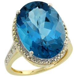 Natural 13.6 ctw London-blue-topaz & Diamond Engagement Ring 14K Yellow Gold - REF-81X2A