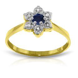 Genuine 0.19 ctw Sapphire & Diamond Ring Jewelry 14KT Yellow Gold - REF-30Z6N