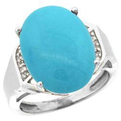 Natural 11.02 ctw Turquoise & Diamond Engagement Ring 14K White Gold - REF-94V5F
