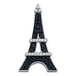 0.33 CTW Black Color Diamond Eiffel Tower France Pendant 10KT White Gold - REF-18X2Y