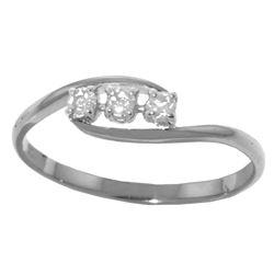 Genuine 0.15 ctw Diamond Anniversary Ring Jewelry 14KT White Gold - REF-36W9Y