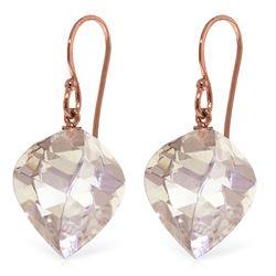 Genuine 25.6 ctw White Topaz Earrings Jewelry 14KT Rose Gold - REF-41Z6N