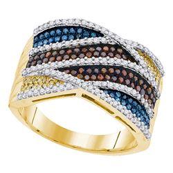 0.75 CTW Multicolor Diamond Fashion Ring 10KT Yellow Gold - REF-79Y4X