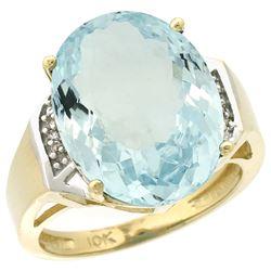Natural 11.02 ctw Aquamarine & Diamond Engagement Ring 14K Yellow Gold - REF-152X5A