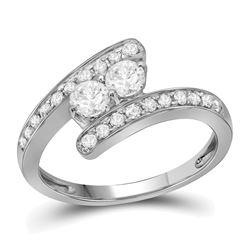 0.66 CTW Diamond 2-stone Bridal Wedding Engagement Ring 10KT White Gold - REF-75W2K