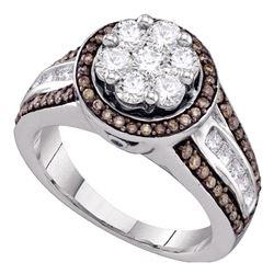1.38 CTW Brown Color Diamond Flower Cluster Ring 10KT White Gold - REF-127W4K