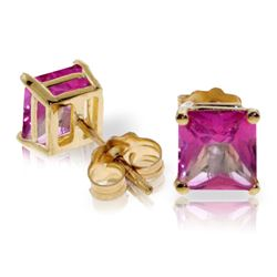 Genuine 1.75 ctw Pink Topaz Earrings Jewelry 14KT Yellow Gold - REF-24N5R