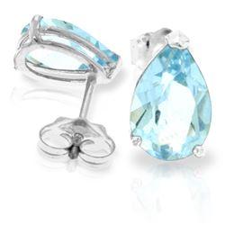Genuine 3.15 ctw Aquamarine Earrings Jewelry 14KT White Gold - REF-30F2Z
