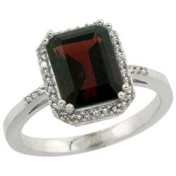 Natural 2.63 ctw Garnet & Diamond Engagement Ring 14K White Gold - REF-43Z9Y