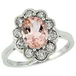 Natural 2.29 ctw Morganite & Diamond Engagement Ring 14K White Gold - REF-90R6Z